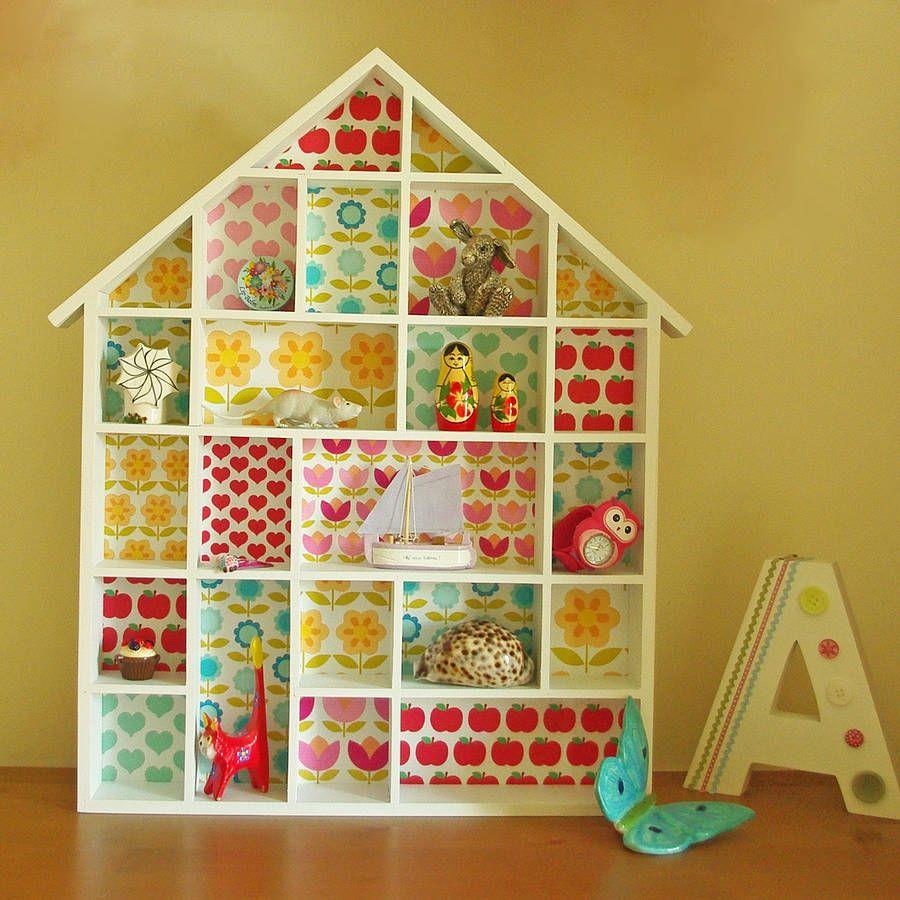 Retro Flower Print Dolls House Shelves