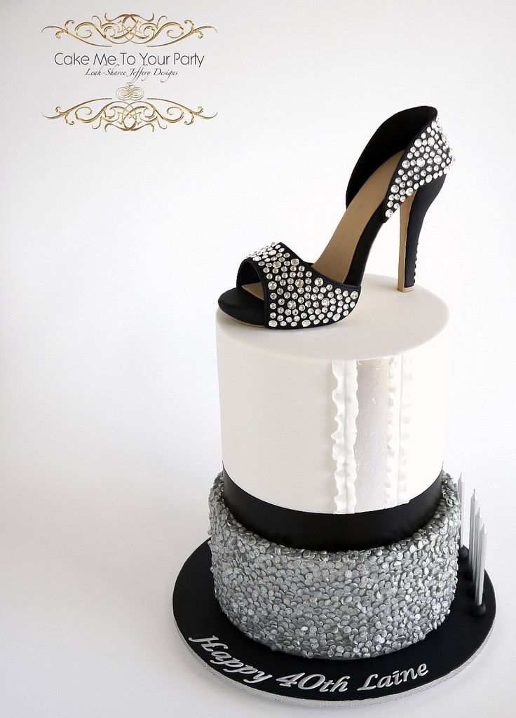 Crystal Sugar Shoe On Sequins Cake With Images Sequin Cake