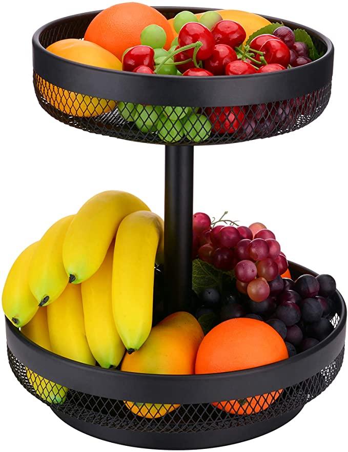 Amazon Com Iberg 2 Tier Fruit Basket Mesh Fruit Bowl Basket Stand For Fruits Vegetables Bread Snacks Bla Tiered Fruit Basket Wire Fruit Basket Fruit Basket