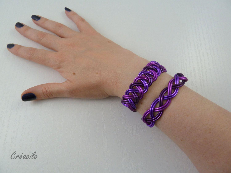 Bracelet aluminium prune lilas lavande par Creacile sur Etsy