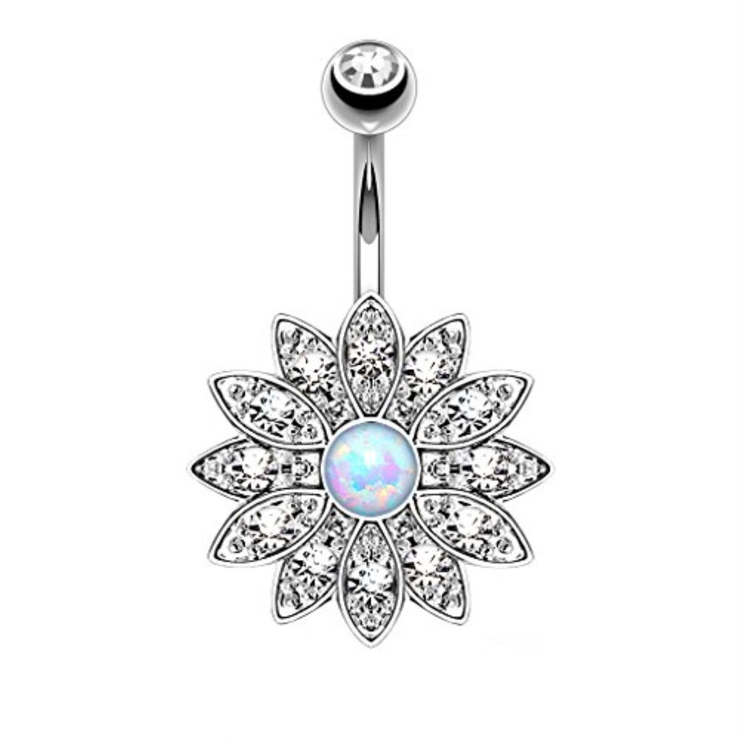 Belly without piercing  BodyJYou Belly Button Ring Crystal Clear Jeweled Opal Flower