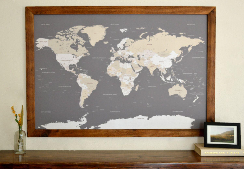 World Map Push Pin Travel Map Wall Art Wood Framed With Pins Etsy World Map Wall Art Framed World Map Push Pin World Map Framed map of the world