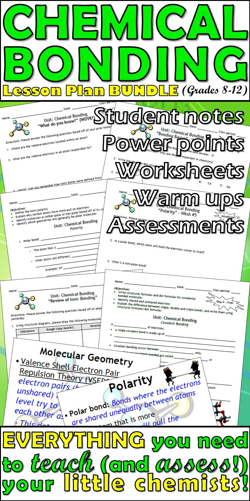 A Perfect Ionic And Covalent Bonding Lesson Plan Bundle Teaches About Lewis Structures Electron Dot Covalent Bonding Chemistry Worksheets Teaching Chemistry [ 2112 x 1056 Pixel ]