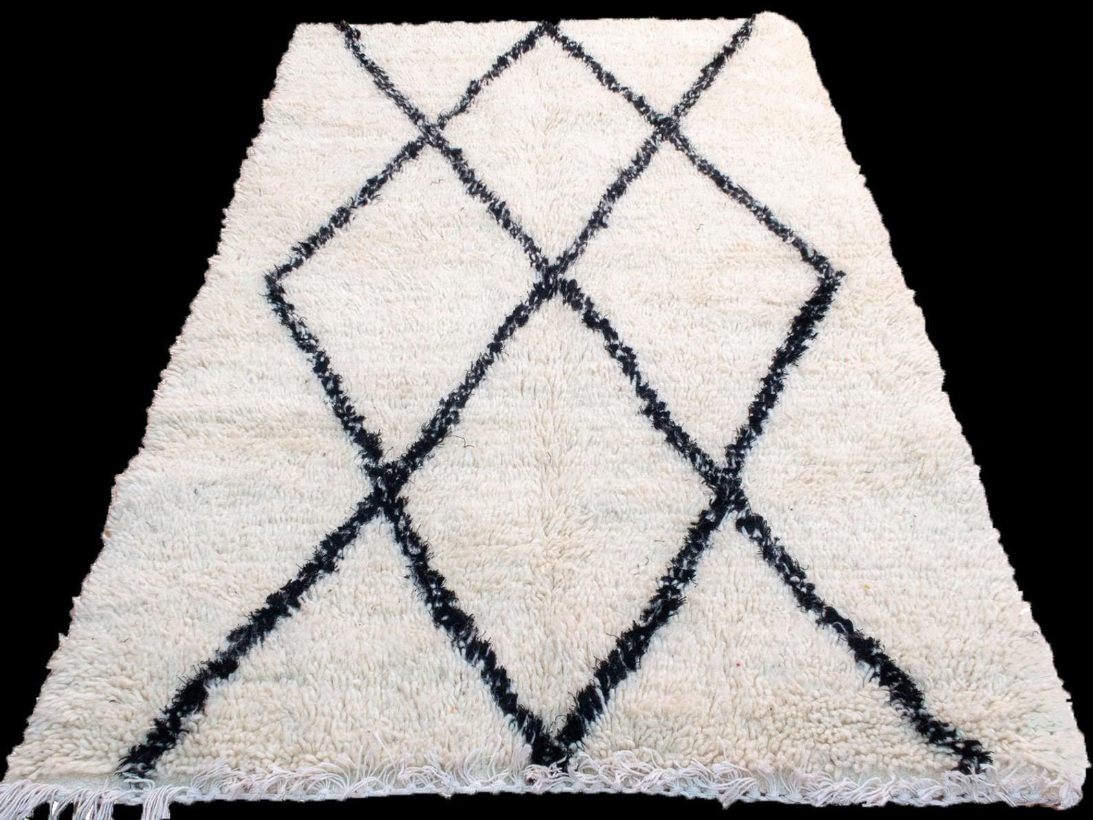Tappeti In Lana Per Soggiorno small beni ourain rug moroccan hand knit wool rug 3'4x5' ft