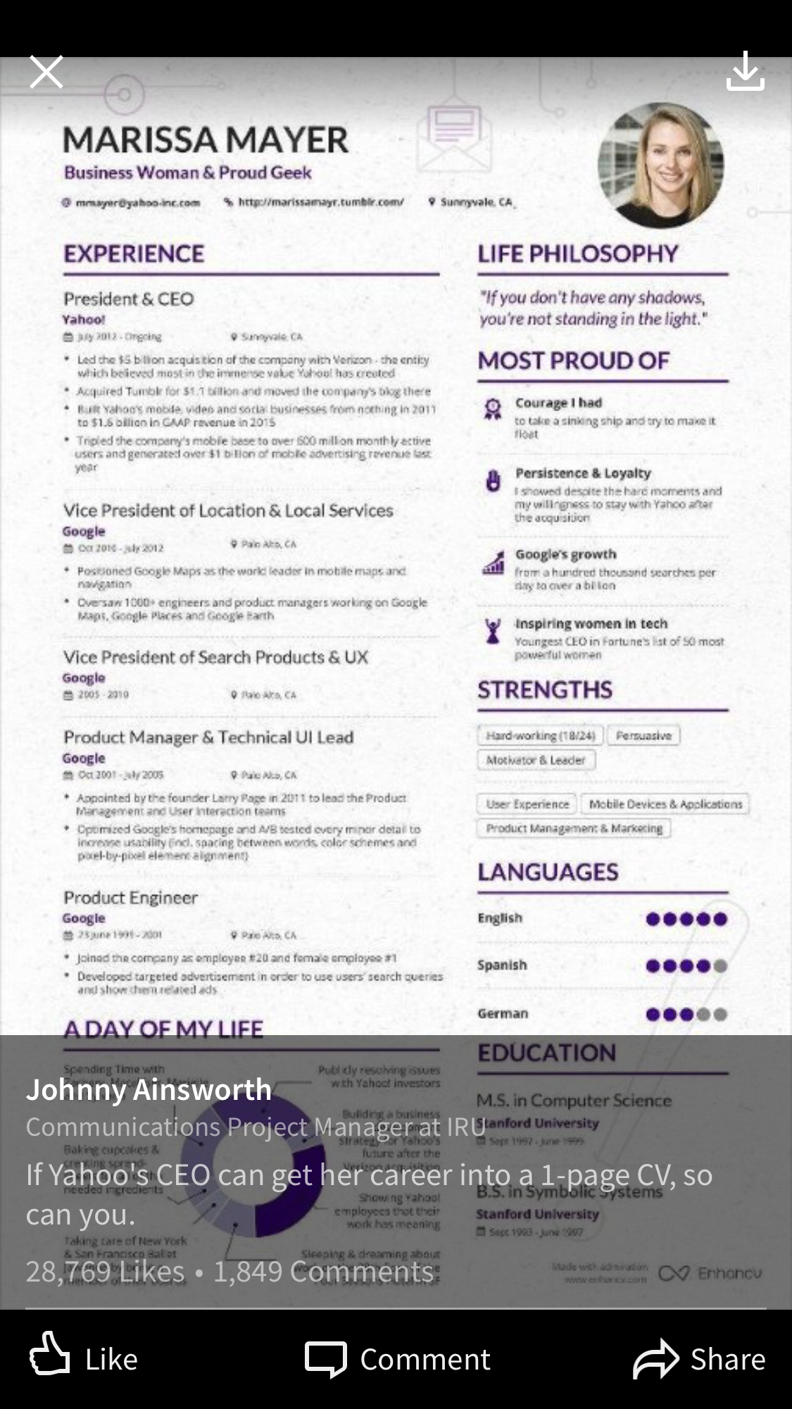 Pin By Alissa Charlton On C Suite Marissa Mayer Resume Writing Examples Visual Resume
