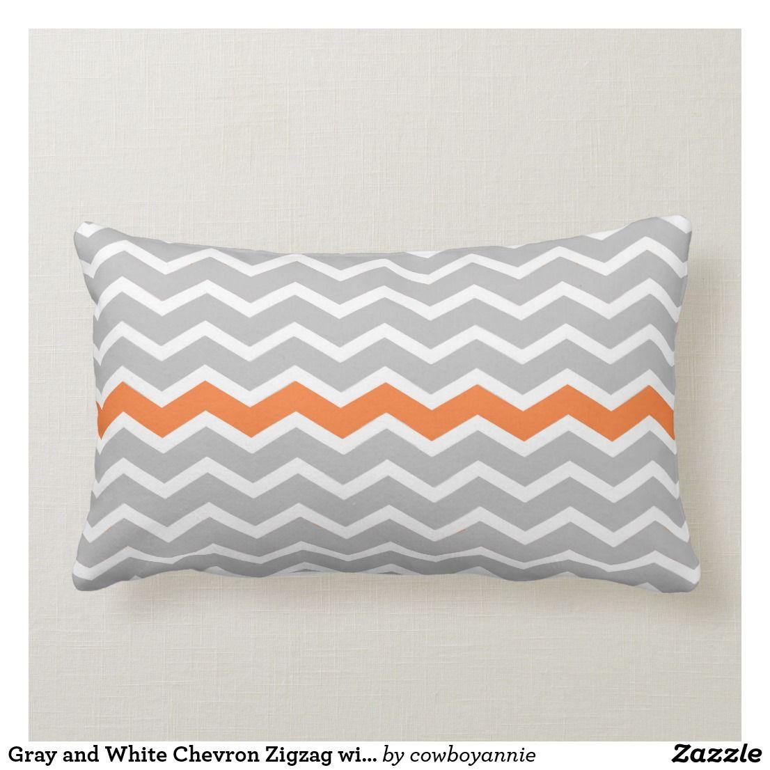 Gray And White Chevron Zigzag With Orange Stripe Lumbar Pillow Zazzle Com Orange Pillows Decorative Lumbar Pillow Orange Pillows