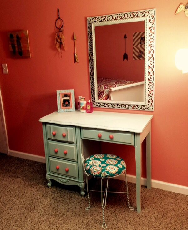 Repurposed Old Desk Into A Vanity Painted Robin Egg Blue