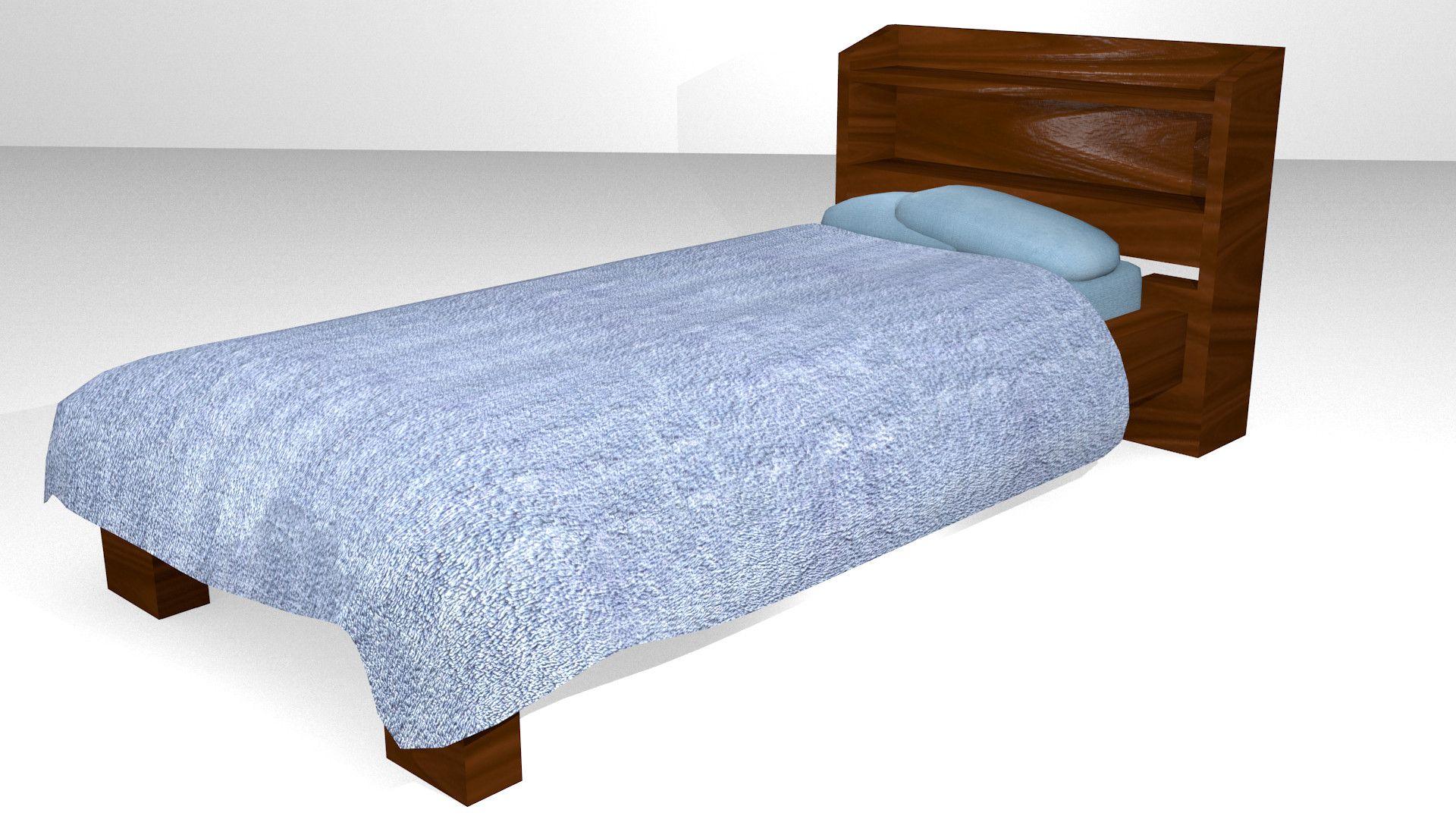 3D Wooden Bed Games Model  3D Model