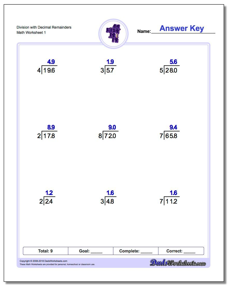 Part Of A Free Collection Of Printable Long Division Worksheets Plus Thousands Of Other Free Math Re Decimals Worksheets Decimal Division Free Math Worksheets