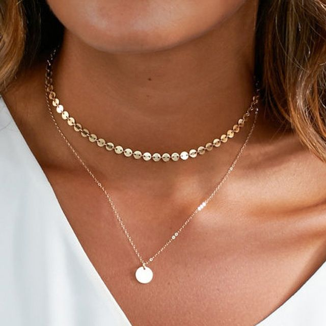 Nova moda moeda de ouro em camadas conjunto colar de charme para as mulheres choker colar xl455