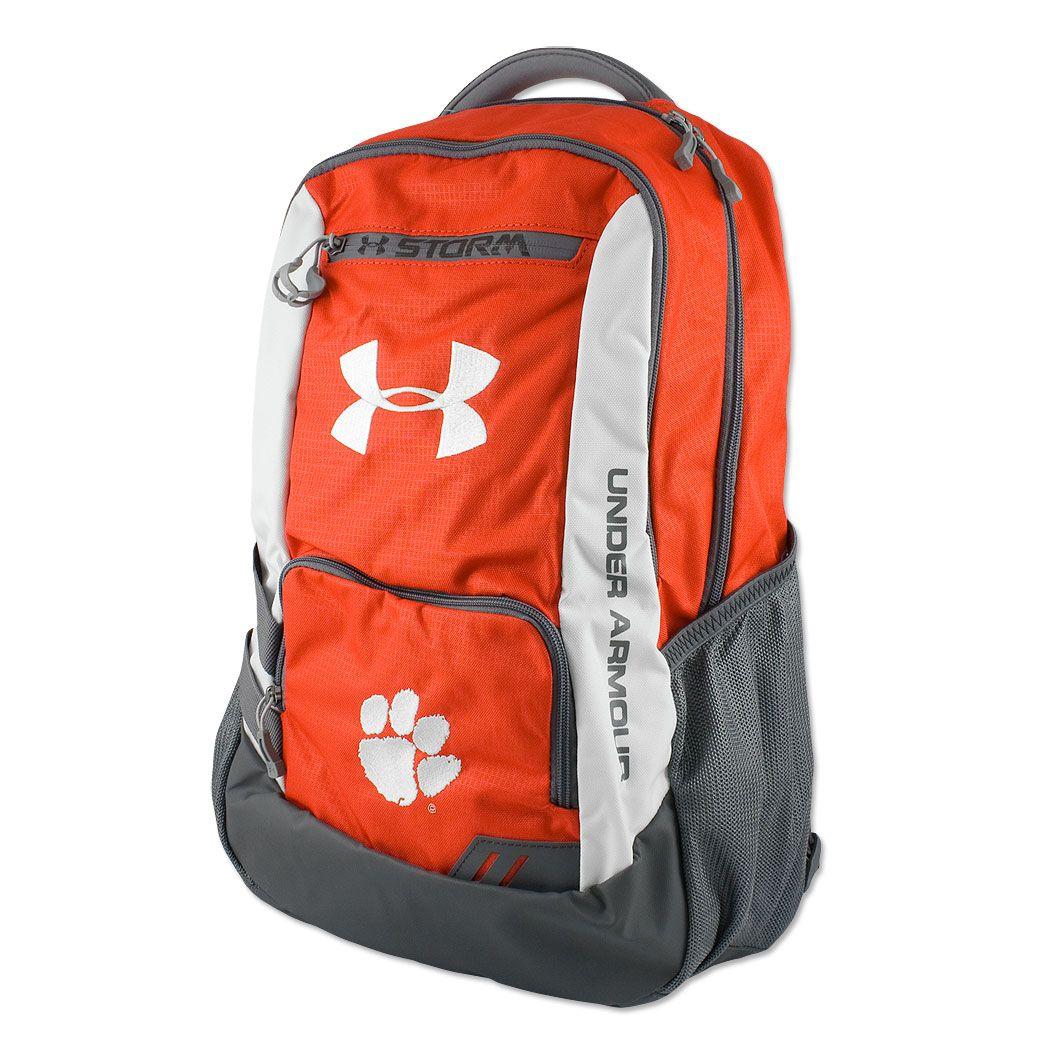 Clemson Tigers Under Armour Hustle Storm Backpack  d3fe642c6500e