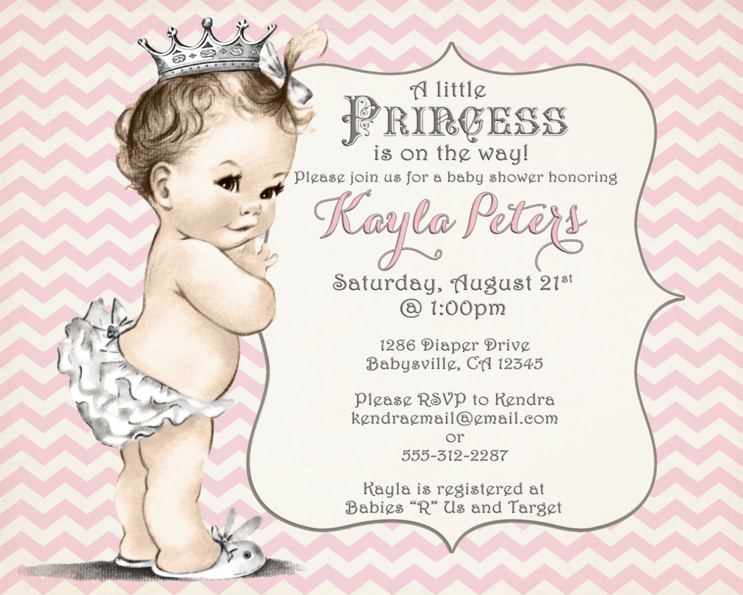 Princess Baby Shower Invitations Templates awesome baby shower ...