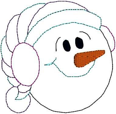 Snowman Face Pattern | Mini Snowman Face Outline Redwork Snowmen