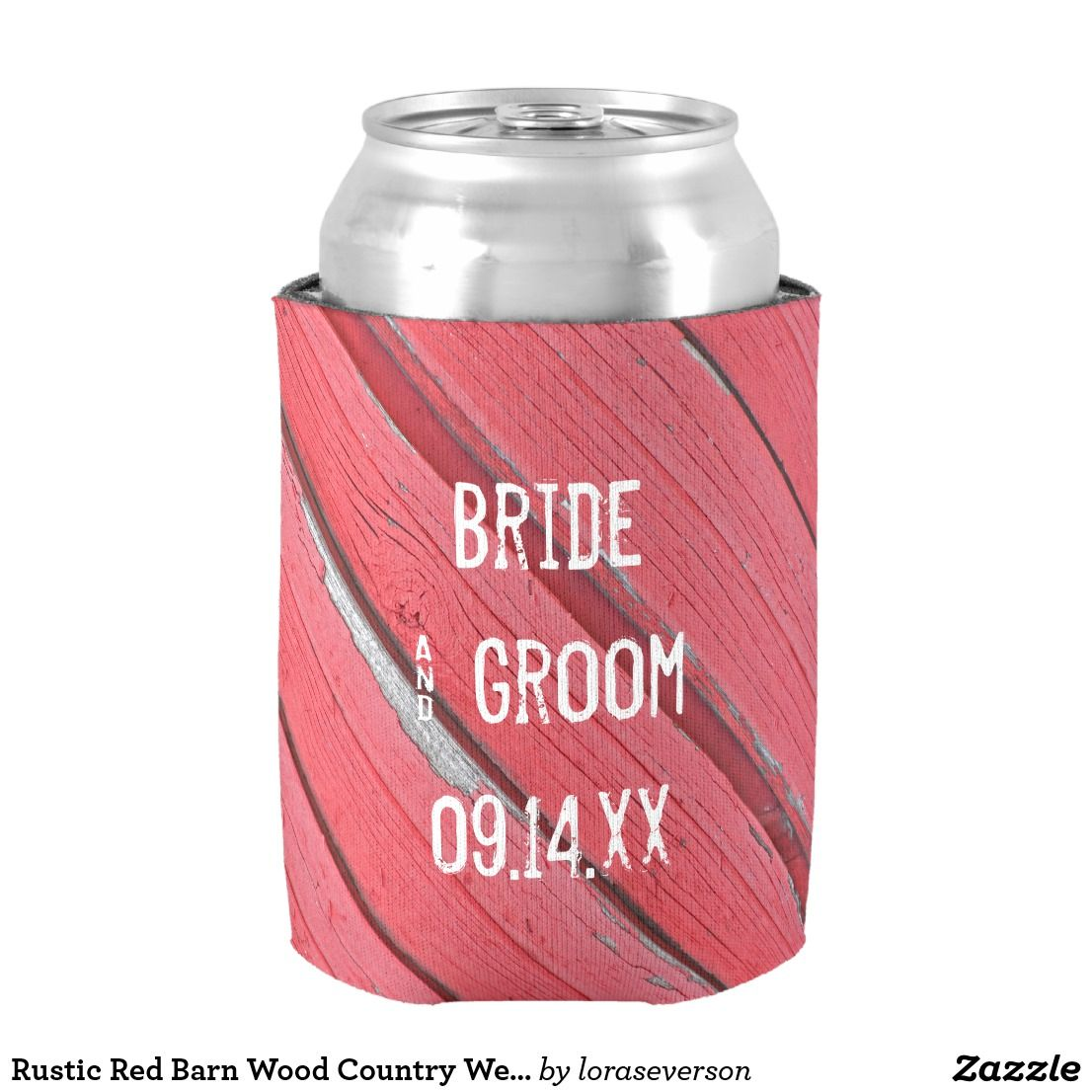 Rustic Red Barn Wood Country Wedding Favors Can Cooler | Wedding ...