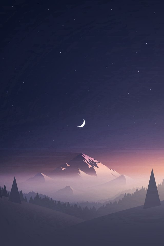 stars and moon winter mountain landscape iphone 4s wallpaper