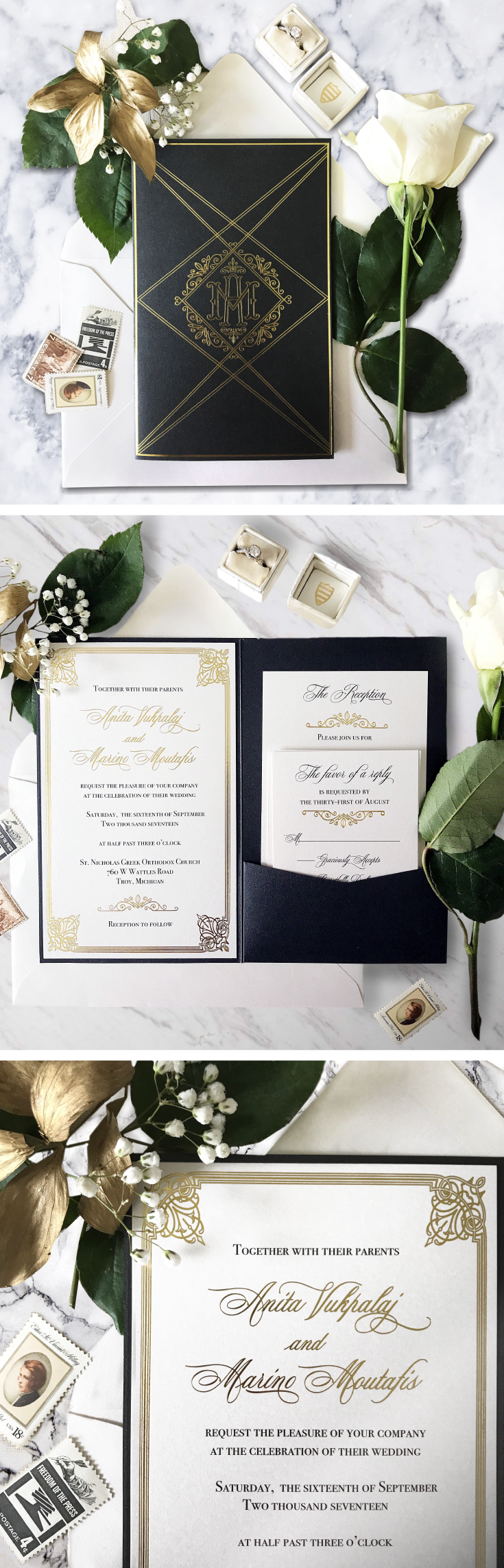 An art deco and Great Gatsby inspired wedding invitation suite ...