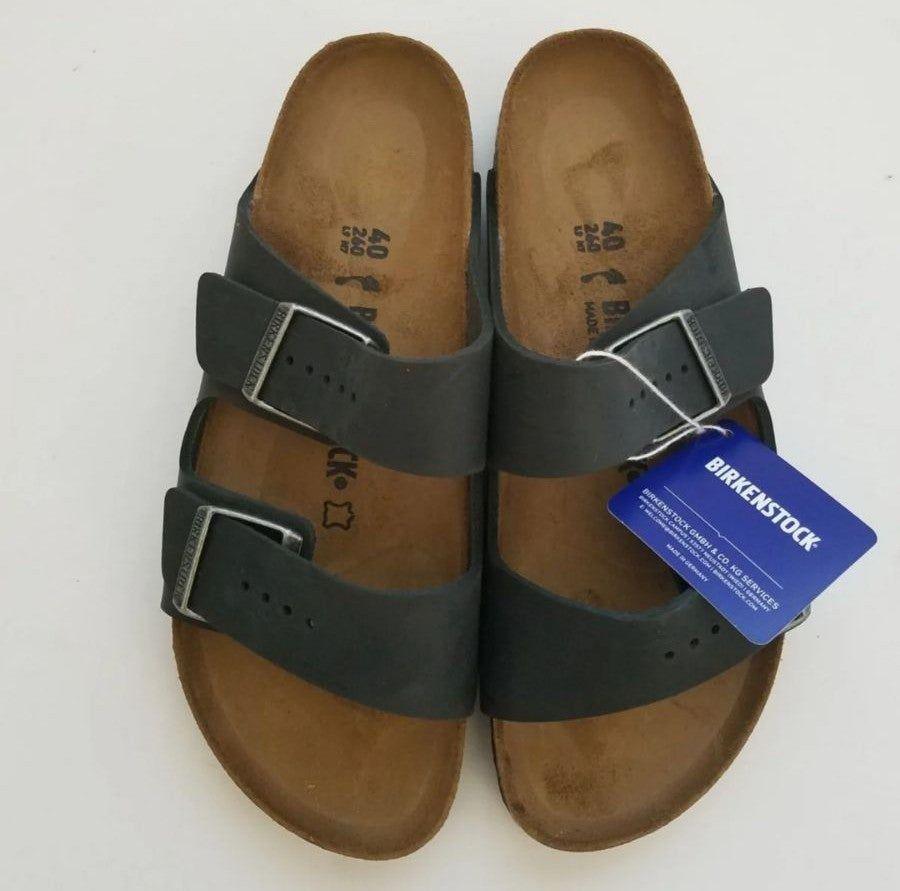 New Birkenstock Arizona Black Oiled Leather Sandals Size 40 Narrow Birkenstock Leather Sandals Sandals