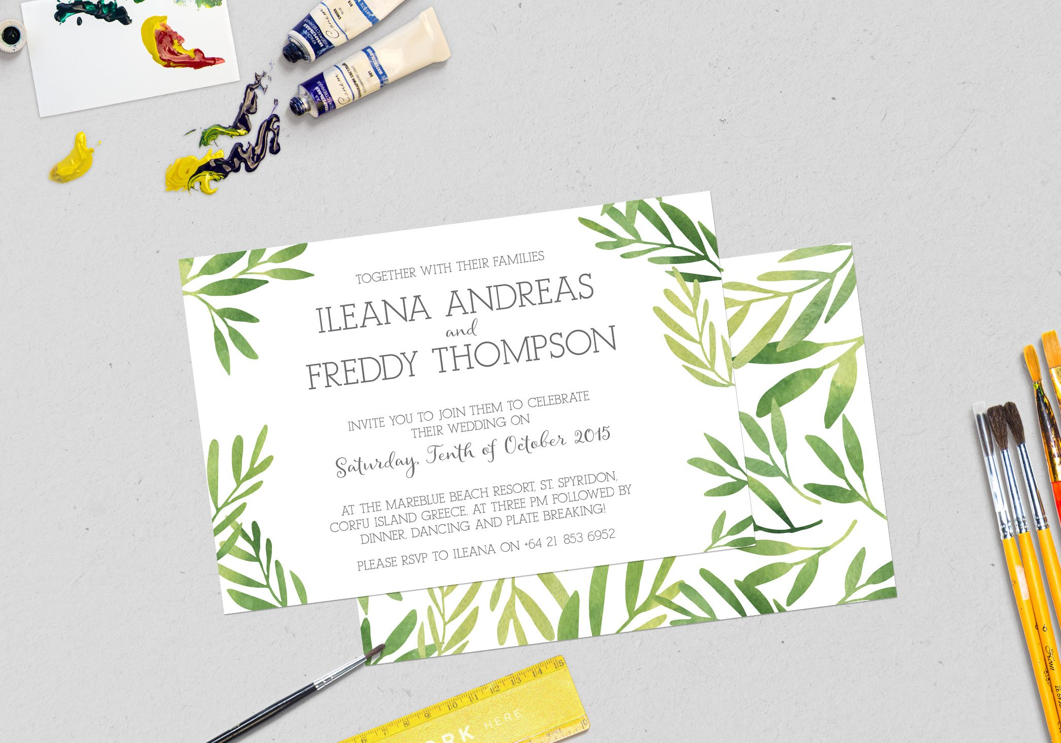 Watercolour leaves styled Wedding Invitation designed by Imagine If ...