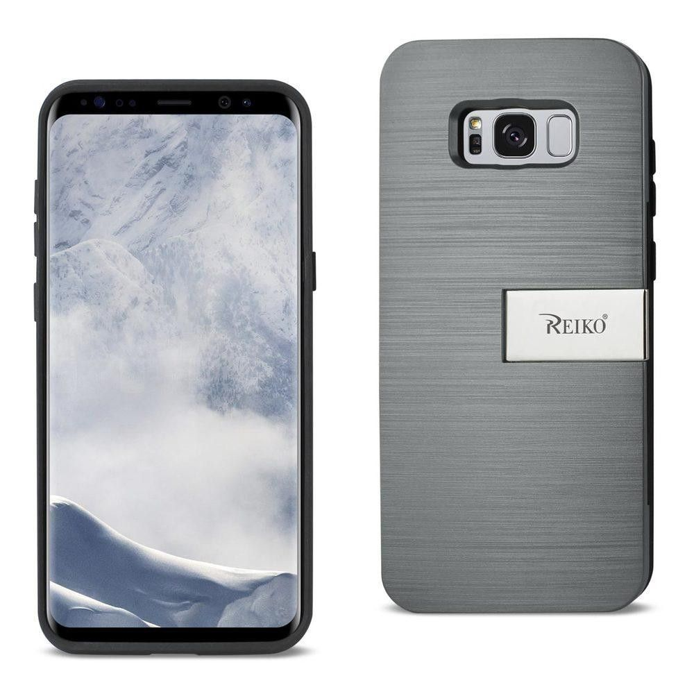 Reiko REIKO SAMSUNG S8 EDGE- S8 PLUS SLIM ARMOR HYBRID CASE WITH CARD HOLDER AND KICKSTAND IN GREY
