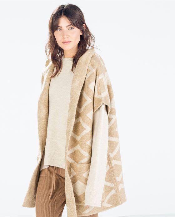 Zara Zwangerschapskleding.Jacquard Hooded Three Quarter Length Coat From Zara Fashion