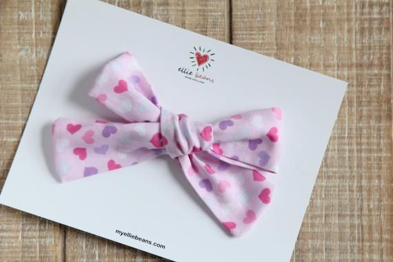 Pink Hearts Hand-tied Baby Hair Bow, Valentine Bows, Soft Cotton Baby Headband, Hearts Hair Clip, Nylon Baby Headband, Pink Heart Bow #babyhairclips