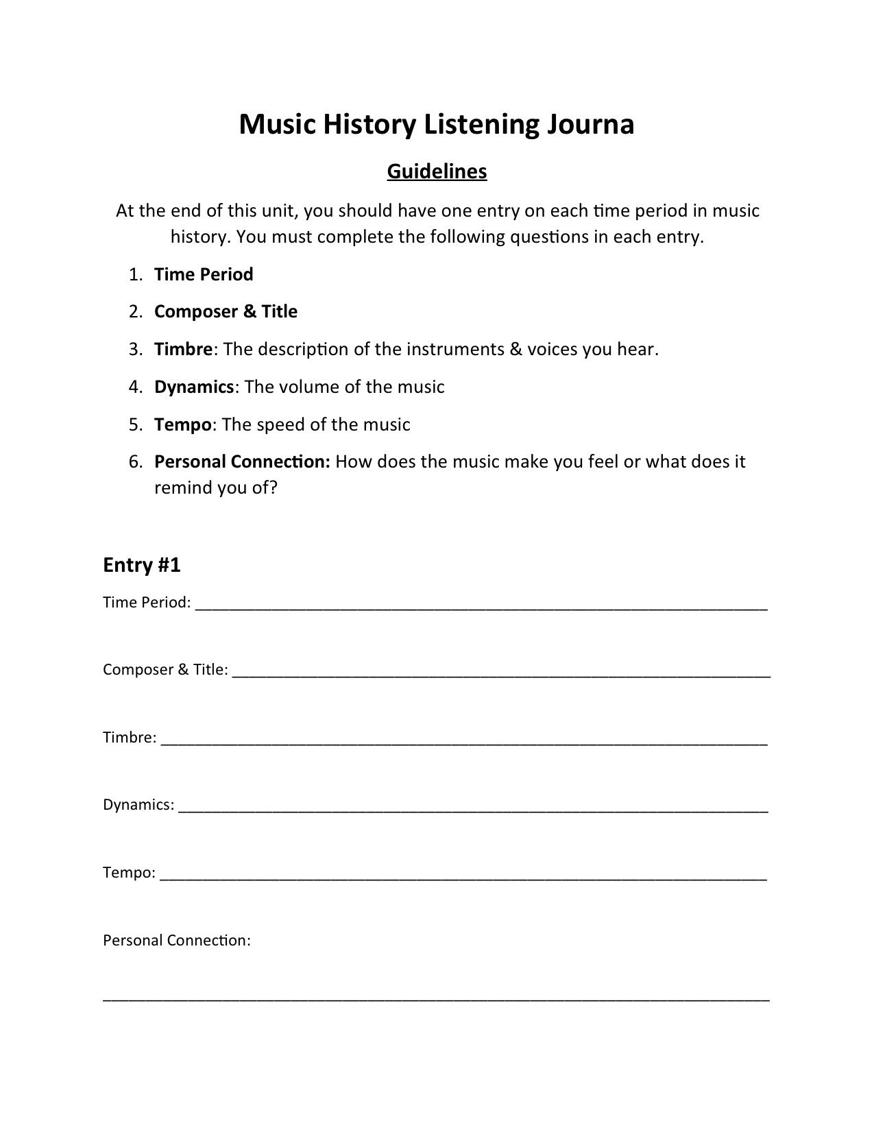 Great Way To Include Critical Listening In Music History Units Worksheet For Students To Write