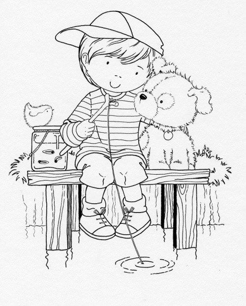coloring page of a boy and his dog fishing | Pattern ...