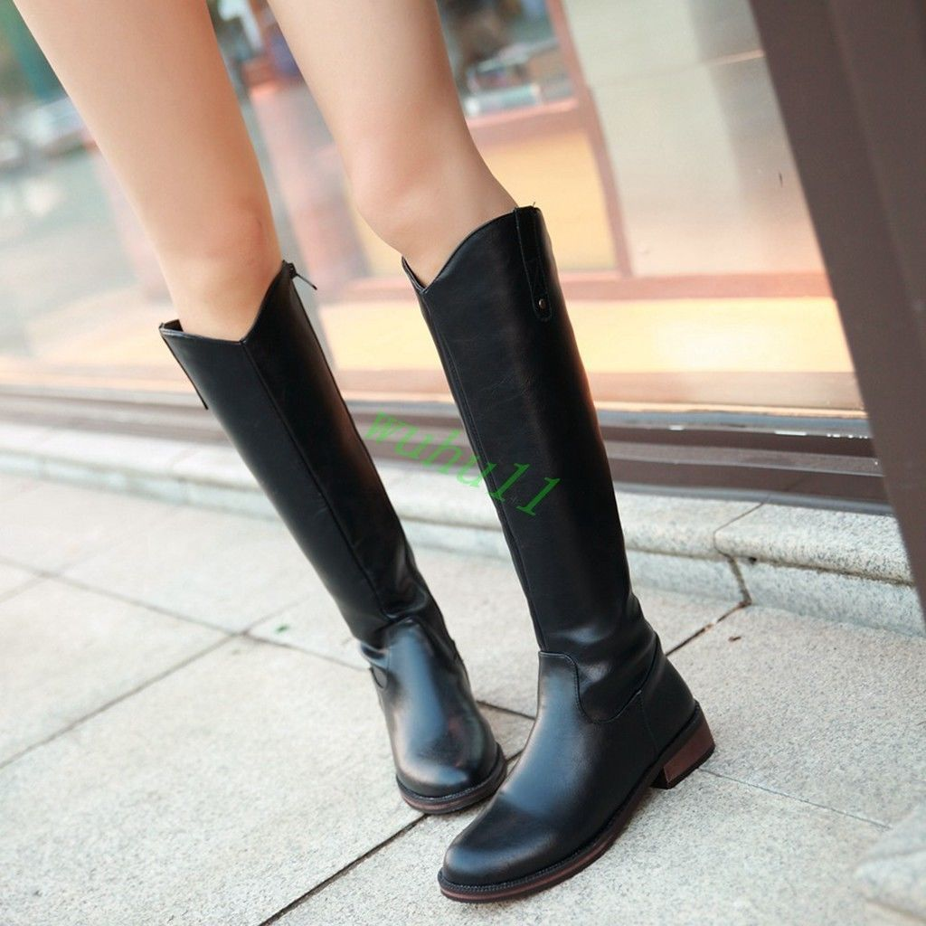 cb428c8a518ae Women Knee High Boots Flat Heels Round Toe Side Zipper Casual Shoes British
