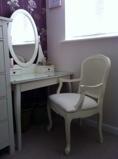 Bourbon Chair, Antique White.    Submitted by Verity Sreet.    The Bourbon Chair, Antique White perched in a dressing room.    Are you a fan?