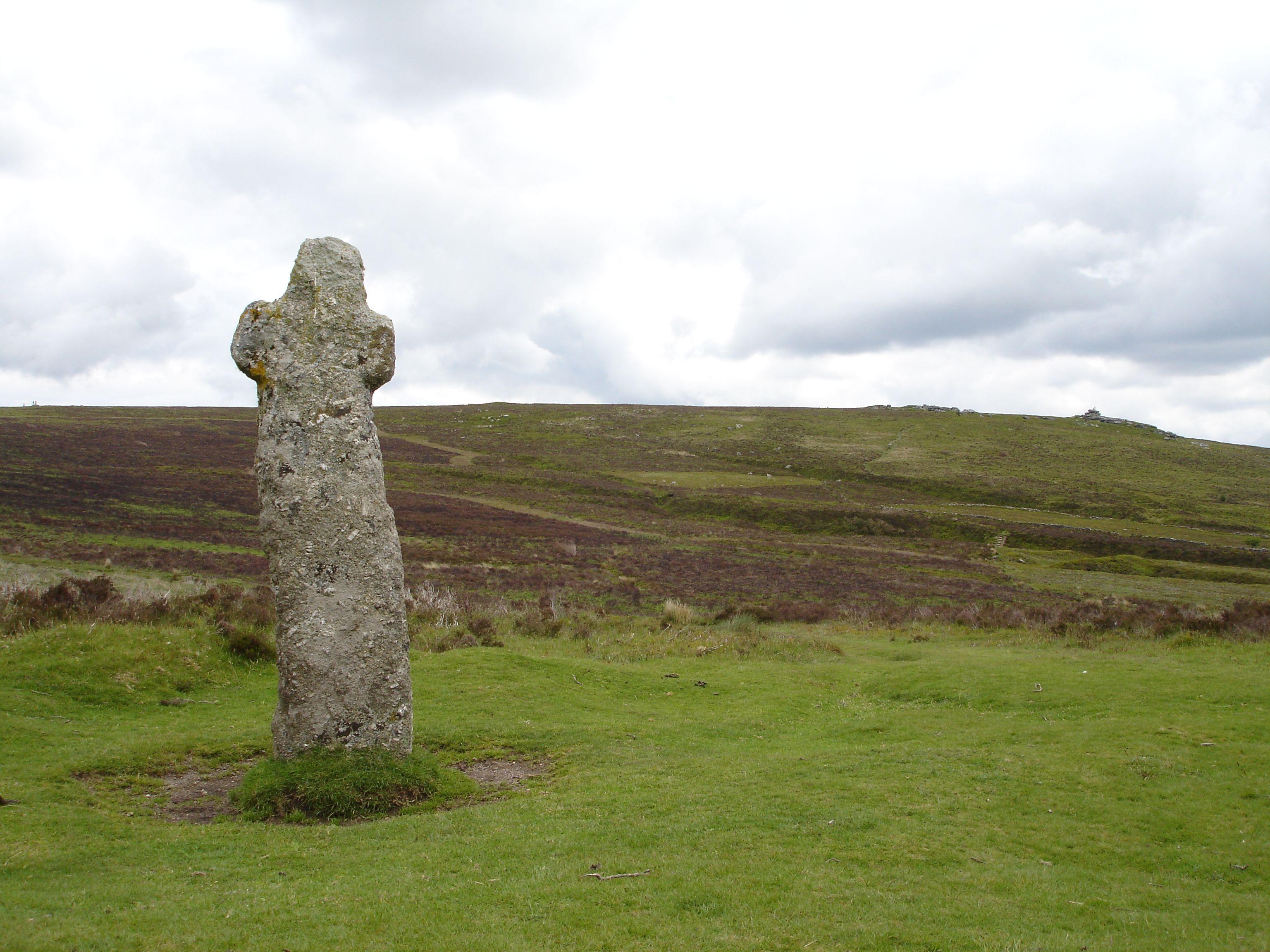 Dartmoor - Bennett's Cross with Birch Tor in the distance.
