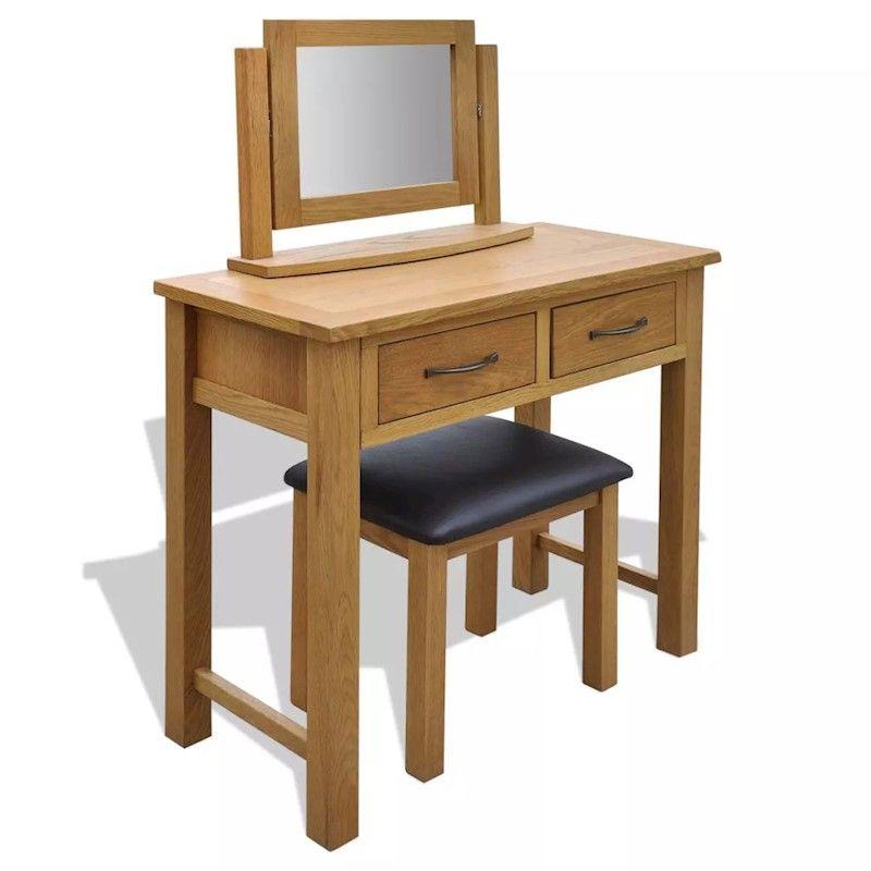 vidaXL Solid Oak Wood Dressing Table with Stool Mirror ...