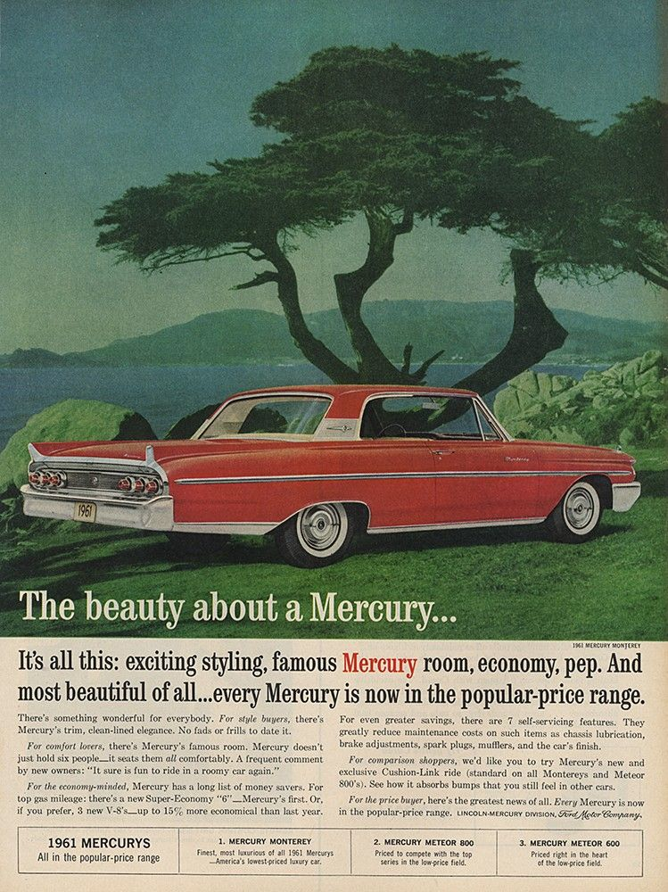 Green 1959 Mercury Monterey 2-Door Sedan Auto Old Print