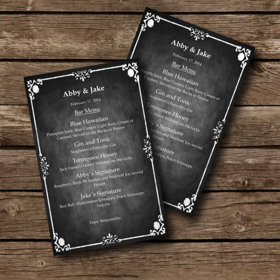 Editable MENU Template - Chalkboard Style - Word Document - menu template for word