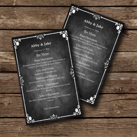 Editable Menu Template Chalkboard Style By Sasafrasprintables 6 00 Chalkboard Template Menu Template Wedding Menu Template