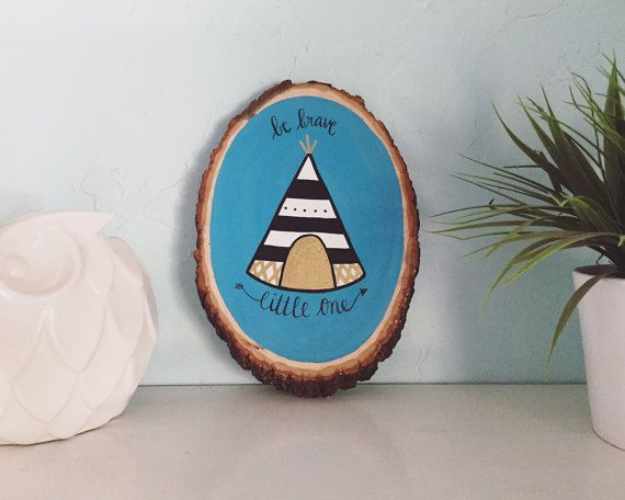 Walnut Wood Slice Art // Be Brave Little One by DoodlebugLettering