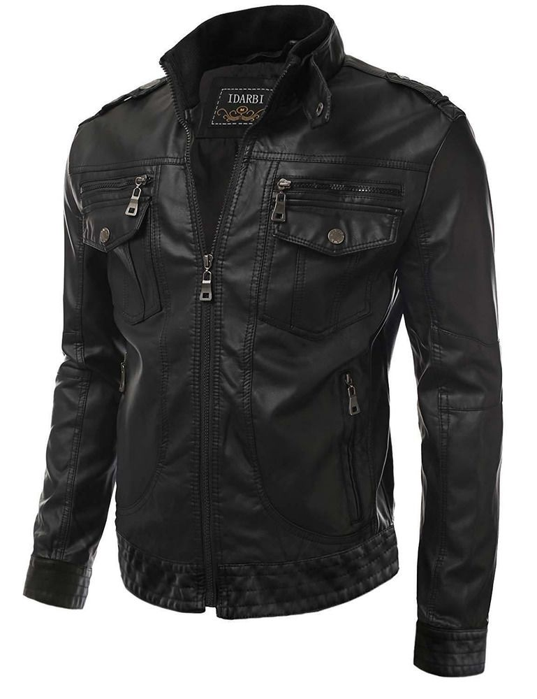 1354b5307ca0 Mens Long Sleeve Premium Stand Collar Zip Up Faux Leather Jacket  fashion   clothing  shoes  accessories  mensclothing  coatsjackets (ebay link)