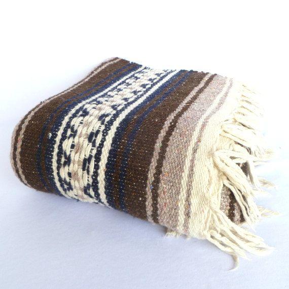 VINTAGE MEXICAN BLANKET / Cotton Boho Blanket/ Indian Blanket