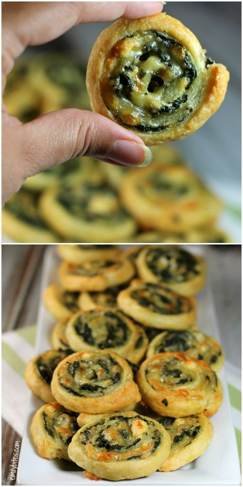 Cheesy Spinach Pinwheels  #fingerfoodappetizers