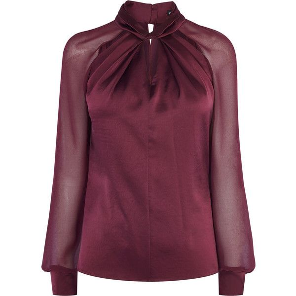 KNOT-NECK TOP (€175) ❤ liked on Polyvore featuring tops, blouses, purple top, cut out blouse, sheer top, sheer long sleeve top and purple blouse