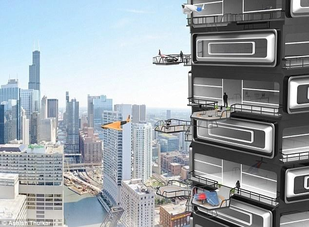 Drone Tower. Get ready for drone-friendly tower blocks. Flats of the future could have mini landing strips on their balconies. Vision includes large balconies being used as landing sites for aircraft. You'd simply order a ride with an app like a taxi—and hop in right from your terrace. I do not see any reason why we cannot realize this dream using good air traffic control. Future design concept from Charles Bombarier of Canada and Ashish Thulkar of Bangalore!!