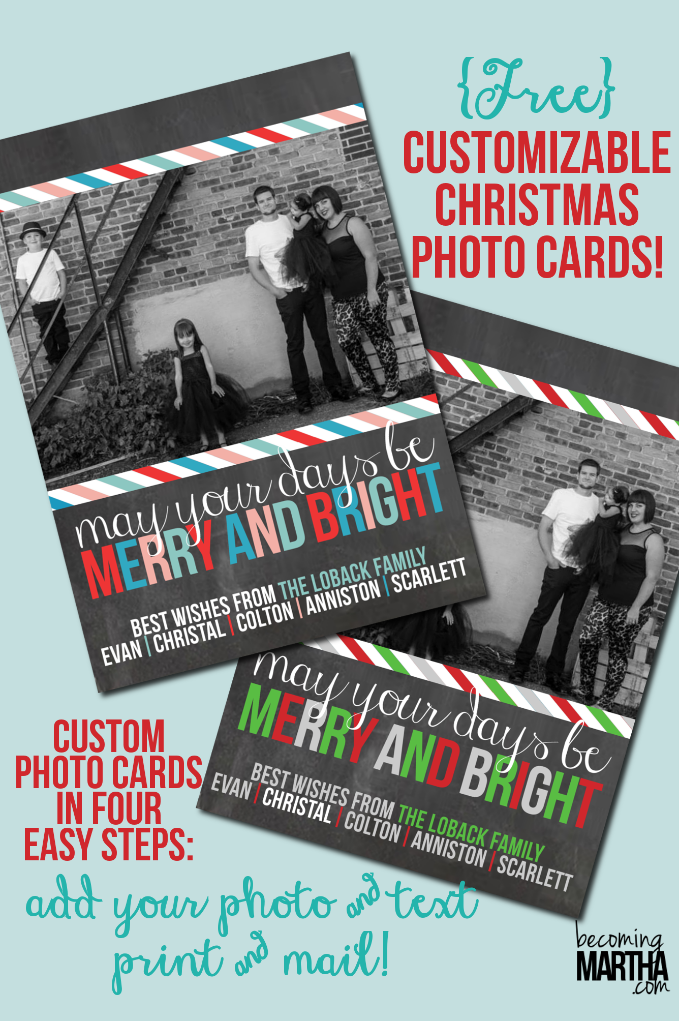 Free Printable Christmas Cards Customize with Your Own