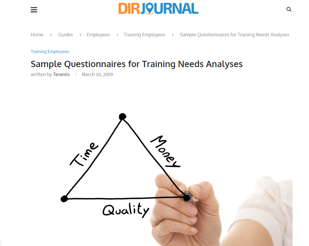 Sample Questionnaires For Training Needs Analyses Instructional Design Learning And Development Task Analysis