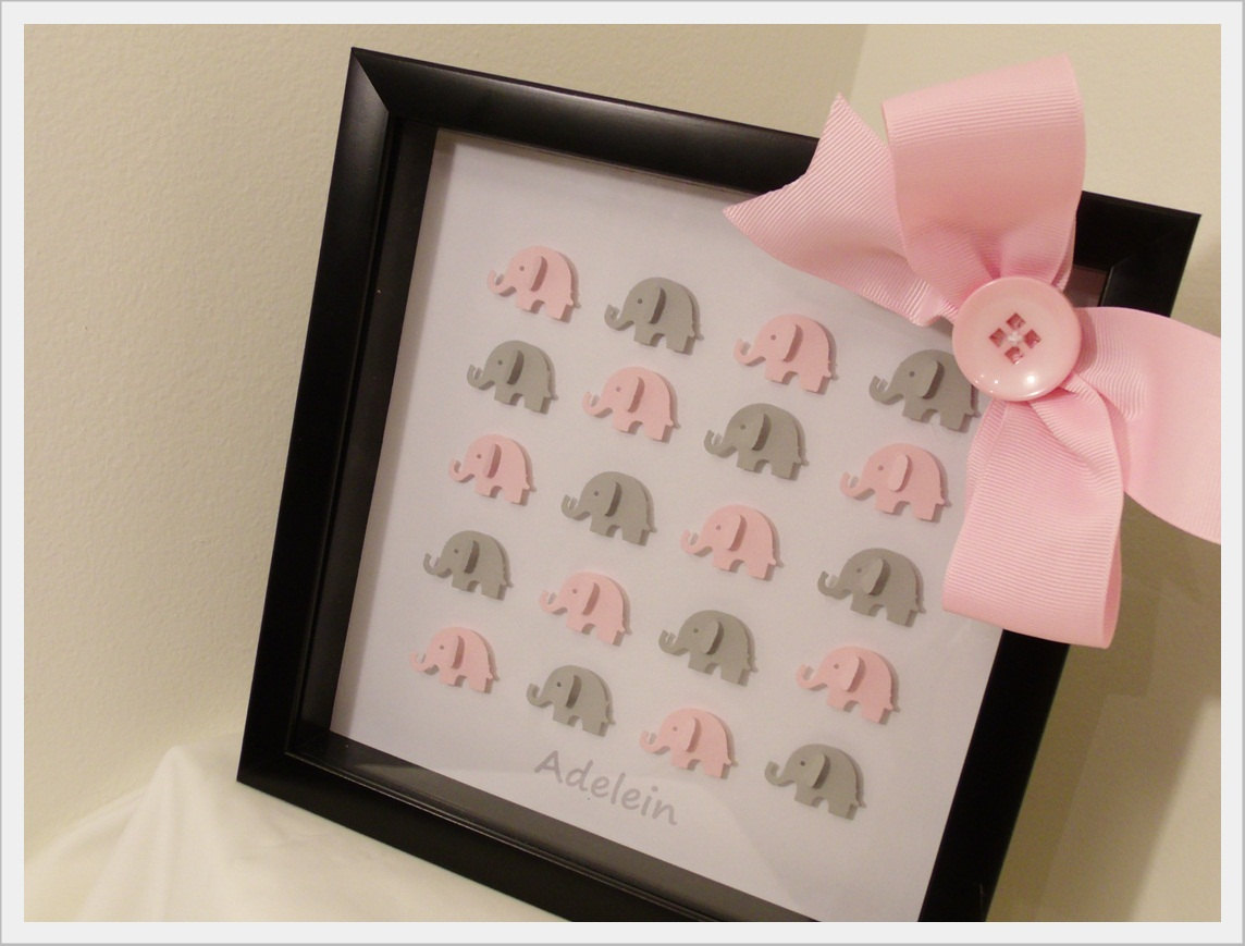 Elephant Art In Framed Shadow Box Custom Baby