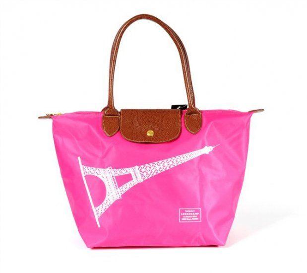 Sac Longchamp Le Pliage Toile et Tour Eiffel en Rose ...