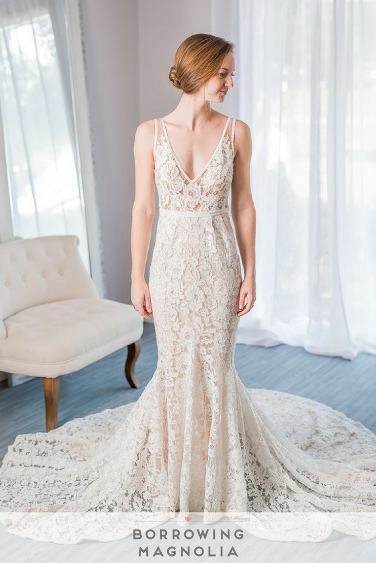 Rent designer wedding dress  Inbal Dror gown  textured lace on every inch of this gown Rent
