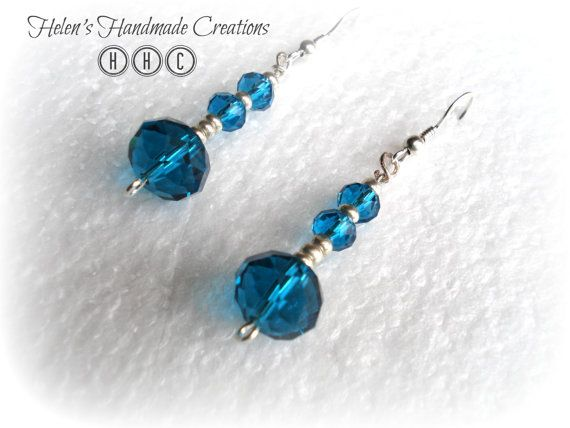 Teal blue crystal silver earrings by helenshmcreations on Etsy