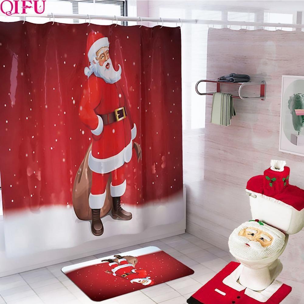 Christmas Santa Claus Bathroom Shower Curtain Set Christmas