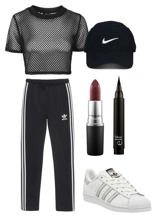 """""""black"""" by beatriceorholm ❤ liked on Polyvore featuring adidas Originals, Topshop, Nike Golf, MAC Cosmetics and adidas"""