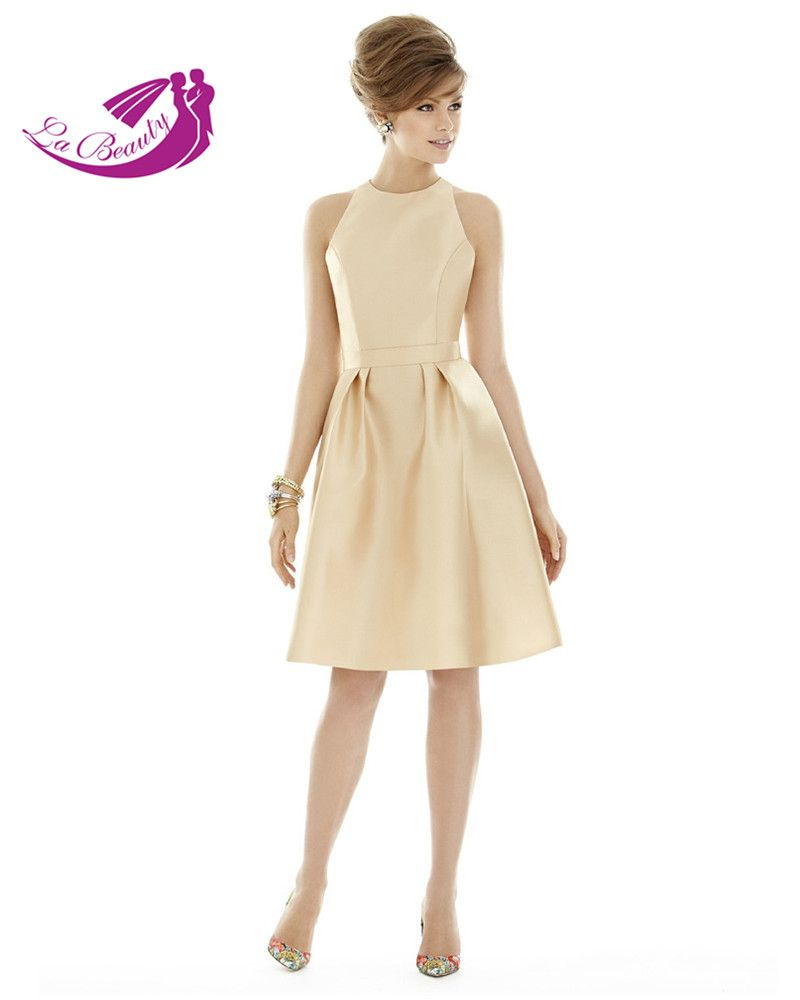 Champagne gold bridesmaid dresses satin pleat party dresses for