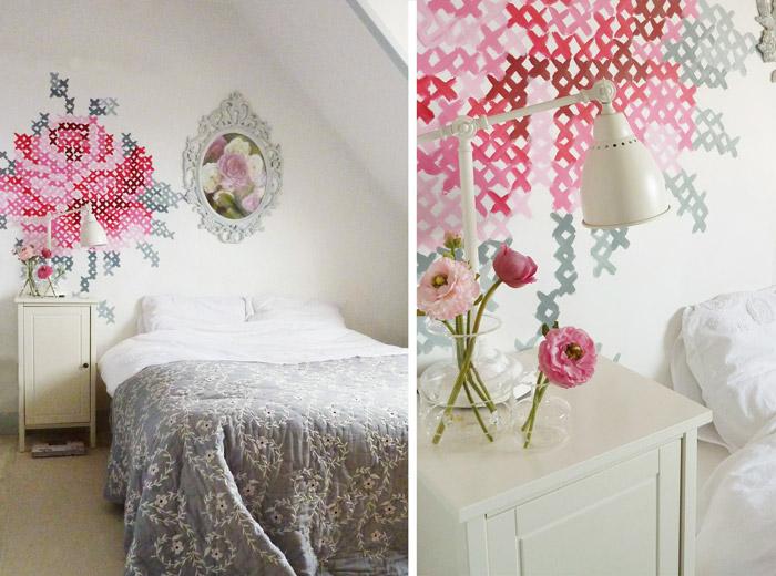 wall painting, cross-stitch rose / romanttinen ristipisto-ruusu makuuhuoneen seinässä